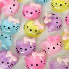 5 pcs mixed resin kitty flatback Button craft bows craft embellishment