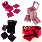 UK Location! Lovely Retro Velvet Square Jewellery Necklace Bracelet box case