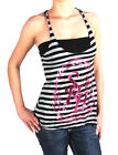 SRH Juniors Wine Striped Tank Top Black/Grey with Pink