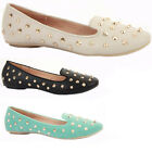 Womens Work Pumps Flat Low Heel Studs Smart Loafer Ballerinas Slip On Shoes Size