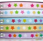 "2 metres pink/white/blue/yellow/purple stars bow Grosgrain RIBBON 9mm(3/8"")"