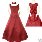 Girl Pageant Wedding Graduation Prom Formal Party Dress Burgundy 6 8 10 12 14 16