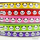 "5 metres yellow/red/pink/green color white black panda Grosgrain RIBBON 3/8""(9mm"