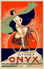 Fashion Lady Riding Bicycle Bike Cycles Onyx French Vintage Poster Repro FREE SH
