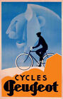 Bicycle Bike Peugeot  Vintage Poster with Man Lion Reproduction FREE SH