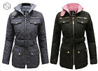 NEW WOMENS LADIES QUILTED PADDED BUTTON POCKET ZIP BELTED JACKET COAT SIZE 8-14