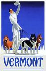 Ski Vermont  Husky Dog Lady Travel  Vintage Poster Repro FREE S/H in USA