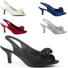 Womens Wedding Shoes Peeptoe Party Sandals Stiletto Low Mid Kitten Heel Size