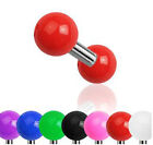 Surgical Steel Tragus Cartilage Bar Ear Piercing with Solid Coloured UV Balls