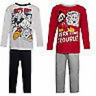 BOYS MICKEY MOUSE PYJAMAS  - 2-6 YEARS-2 COLORS WHITE & RED - LONG LEG/SLEEVE