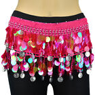 Silver Coins Milky Sequins Beads Belly Dance Hip Scarf Wrap Chiffon Multi Color