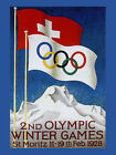 1928 St. Moritz Switzerland Olympic Winter Games Vintage Poster Repro FREE S/H