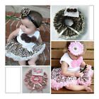 2Pcs Baby Girl Kids Top+Skirt Dress Costume Tutu Brown Pink Leopard Clothes 1-4Y
