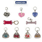 Ancol Pet Charm Dog Cat ID Tags Name Collar Silver Bling Diamante Heart Pink