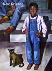 African American Boy Burmese Cat New Orleans 1930 Lovely Poster Repro FREE S/H
