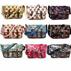 Ladies Oilcloth Floral Cross Body Messenger Bag Satchel Bag Shoulder Handbag