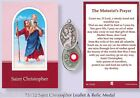 VARIOUS SAINTS Prayer / Verse Card with Silver Relic Metal Oxidised Medal