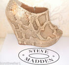 BNWB RRP £110 STEVE MADDEN SIZE 3 4 5 6 7 REAL LEATHER SNAKE WEDGE SHOE BOOTS