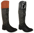 NEW WOMENS LADIES ANKLE SPIKES STUDS RIDING BIKER MID CALF LOW HEEL BOOTS SIZE