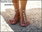 Swarovski AB or ABx2 Crystals BAREFOOT SANDALS with ANKLETS  Foot Jewellery 1pr