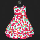HP3118A Pink Polka Dot Christmas Wedding Girls Party Dress SZ 2,3,4,5,6,7,8,9,10