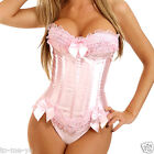 Pink Overbust Corset with Padded Cup Lace up Bustier Bridal Sexy Lingerie S-2XL