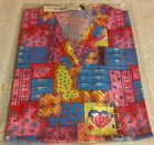 """Breast Cancer Print Scrub Top """"V"""" neck Quilted Hearts & Ribbons by Melrose"""