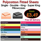Plain Dyed Fitted Sheet 50/50 Polycotton Bed Sheet Single Double King Super King