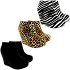 WOMENS HIGH HEEL CONSEALED WEDGE PLATFORM ANKLE SHOE BOOTS LADIES NEW 3-8