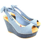 WOMENS ROCKET DOG COLLEENS STRIPE WEDGE HEEL PLATFORM DENIM SANDALS SHOES 3-8