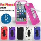 Heavy Duty Armor Soft Rubber Skin Hard Case Cover Stand For Apple iPhone 5 5S