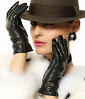 Lady's Winter Warm Nappa leather Checked Gloves Cashmere Lining Gold Plated logo