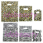 100 ANIMAL PRINT FASHION PLASTIC CARRIER BAGS ZEBRA LEOPARD PATTERN SHOPPING BAG