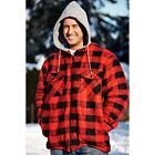 MENS CHECKED HOODED FLEECE FUR LINED JACKET LUMBERJACK RED GREY BLUE