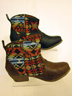 LADIES COWBOY  ANKLE  BOOT WITH AZTEC PATERNED ( SPOT ON'F50049')