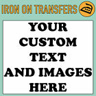 Custom Iron On T Shirt Transfer Personalised Text Quality Prints Your Name Image <br/> Customise your t-shirts & clothing with iron ons!