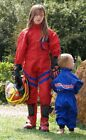 Kids Pit Crew Speed Demon Mechanic Style Overalls Red with Blue Stripe - T