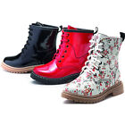 Ladies Girls Womans Red  Black Patent Lace Up Boots 10 11 12 13 1 2 3 4 5 6 7 8