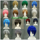 Fashion Heat Resistant Short Straight Cosplay wigs Costume Party wig 15 colors