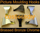 Picture Rail Moulding Hooks x 25 Electro Brassed Chrome Plated or Antique Bronze