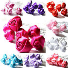 5 pcs Satin Rose Flower Hair Pin Clips Wedding Bridal Party Prom Jewellery