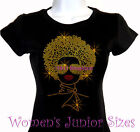 Lady with Afro - GOLD - Rhinestone Iron on T-Shirt - Pick Size S-3XL - Top Bling