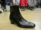 Retro Mens LENNON Black Real Leather Zip Chelsea Beat Cuban Heel Beatle Boots