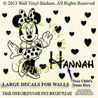 Minnie Mouse Wall Sticker Personalised Kids Children Name Vinyl Art Decal face 2