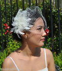 Mini VEIL SET w/ 801 PEARL Feather Fascinator & Ivory / White Birdcage Blusher