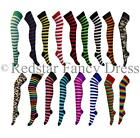 LADIES OVER THE KNEE SOCKS STRIPEY SOCKS STRIPED LADIES THIGH HIGH SOCKS 4-6 NEW