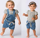 3pcs Baby Girl Kid Top Pants Overalls Trousers Belt Jeans Outfit Clothes 1-6Y