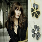 CLOVER THREE LEAF  BLACK NECKLACE PENDANT