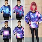 Fashion Unisex Galaxy Space Starry Print Long Sleeve Top Round T-Shirt 4 Styles