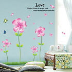 "DIY Wall Sticker ""Butterfly and Flower"" Removable Decal Bedroom Home Deco Living"